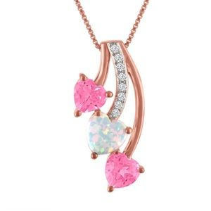 Lab-Created Opal, Pink & White Sapphire 14K Gold